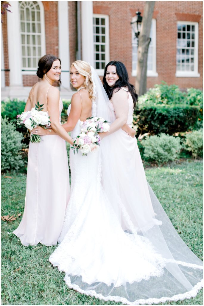 bridesmaids with flowers from DC wedding florist