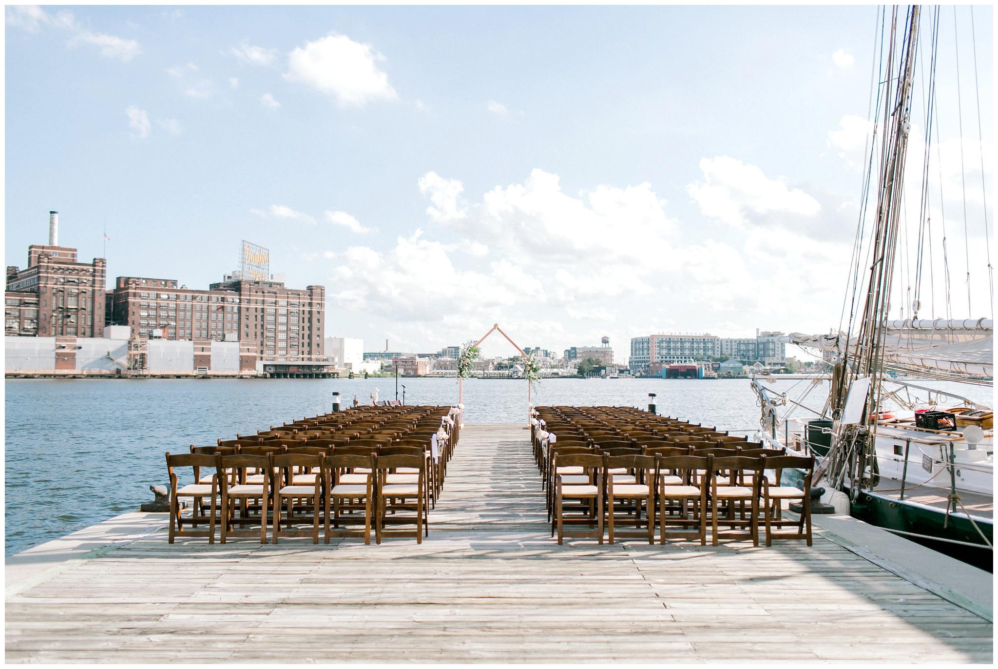 Waterfront Wedding Ceremony Baltimore Maryland Photographer