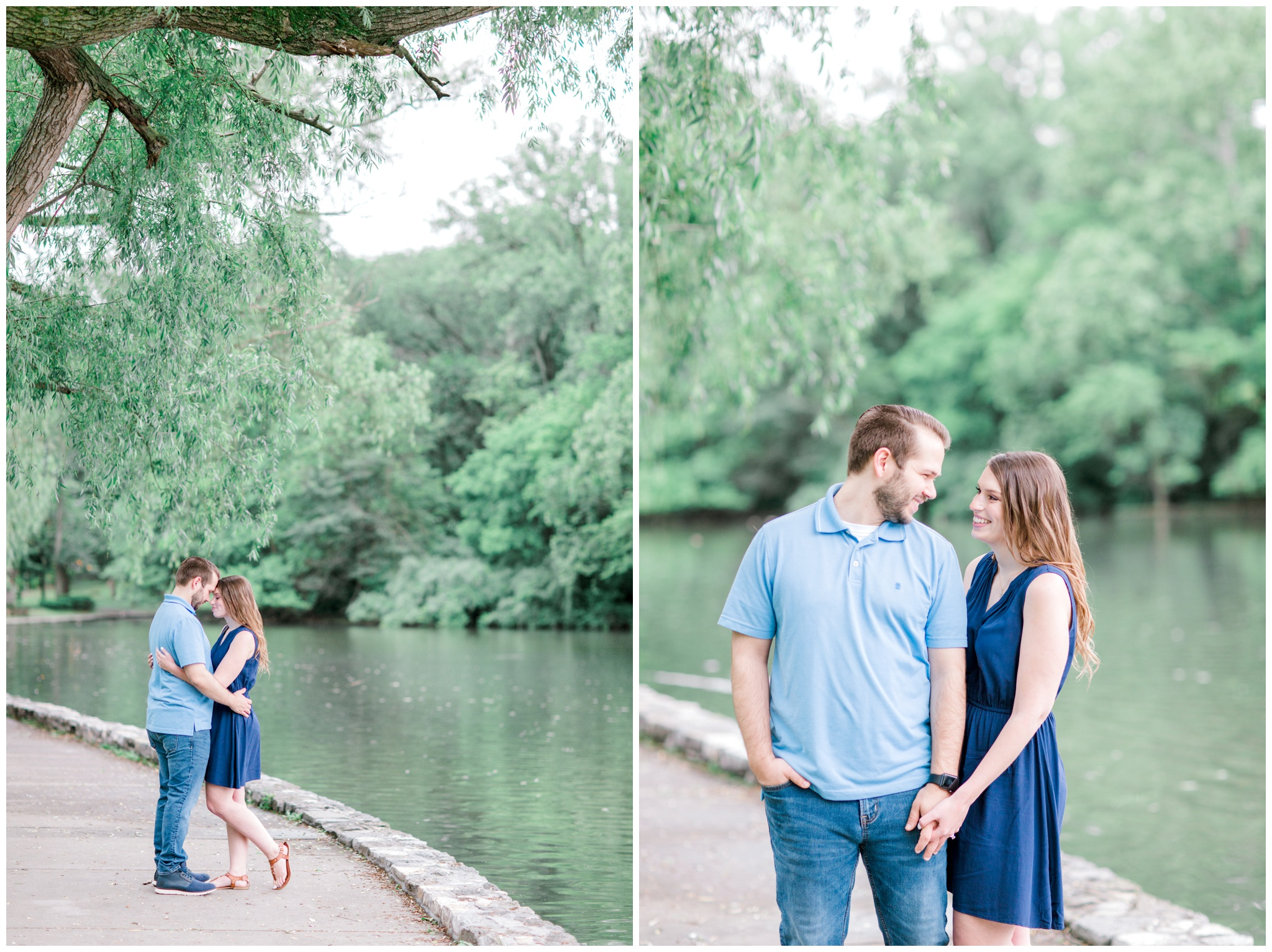 couple in hagerstown city park doing their engagement photos by the water