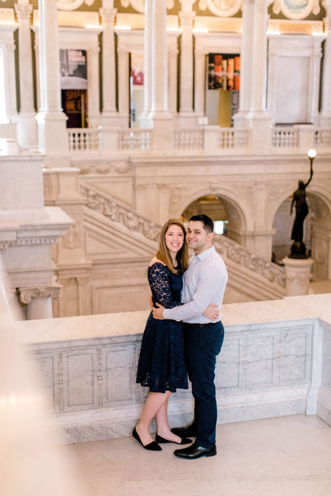 Indoor engagement session in DC at Library of Congress