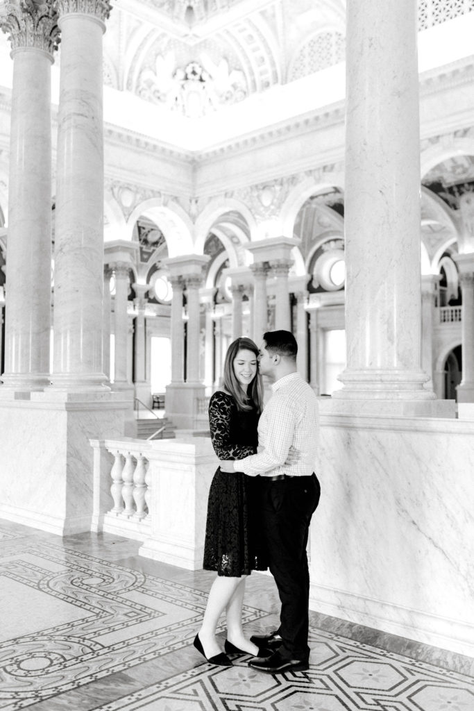 Black and White photo of couple at the Library of Congress