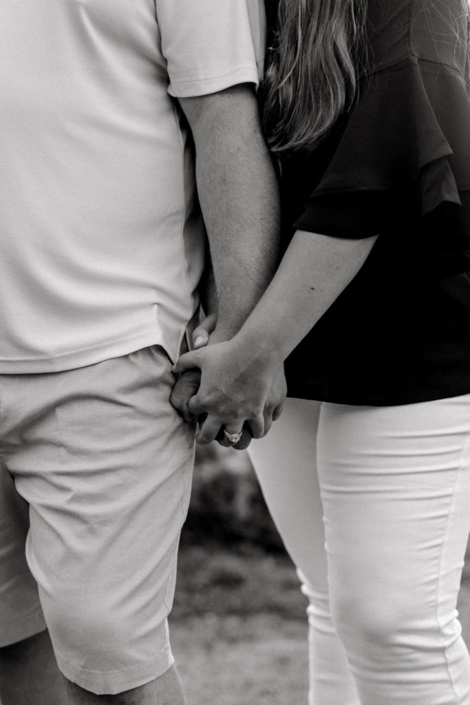 Black and white engagement session