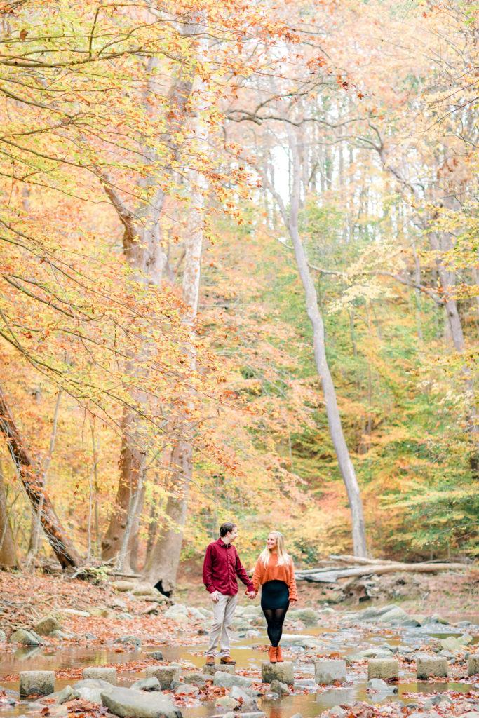 Fall engagement photography at Scotts Run Nature Preserve