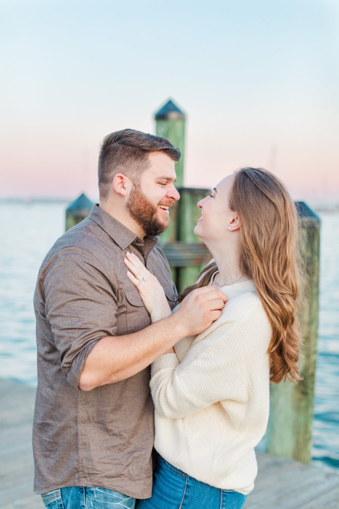 Annapolis Waterfront Sunset Engagement Photography by DC Wedding Photographer Nikki Schell