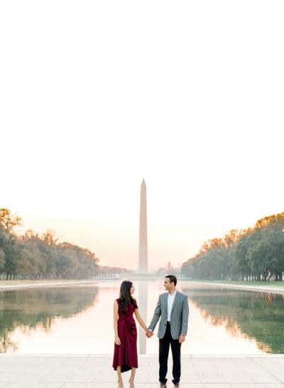 Lincoln Memorial Engagement | Kruti + Premal