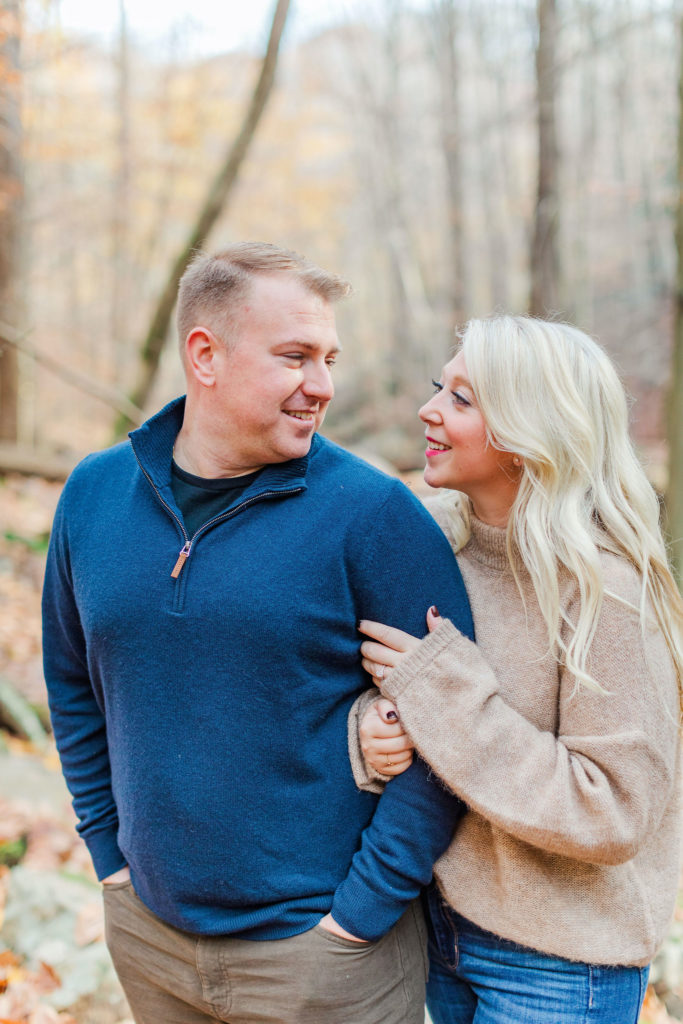 Fall engagement photo at Patapsco Valley State Park