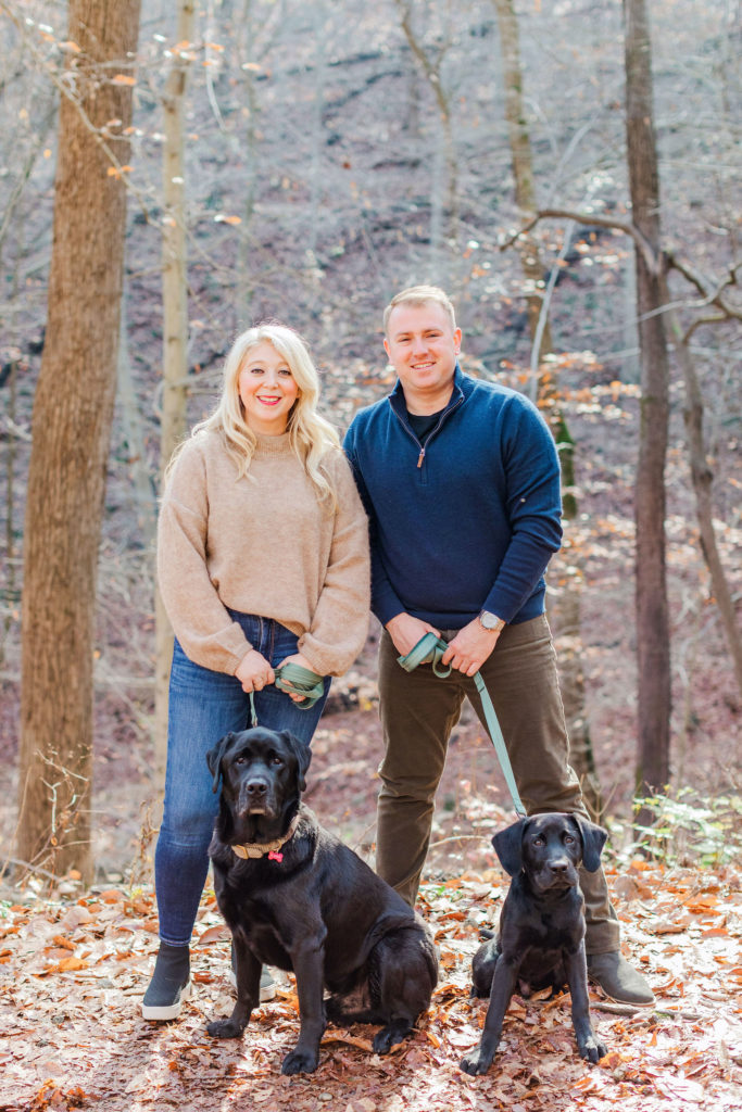 black lab puppies engagement photography